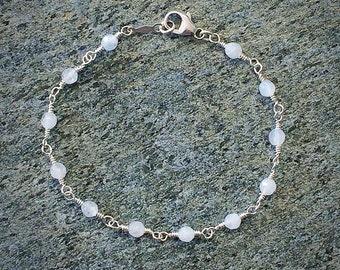 Rainbow Moonstone Bead Chain Bracelet - Moonstone Bracelet - Beaded Bracelet - Handmade Bracelet