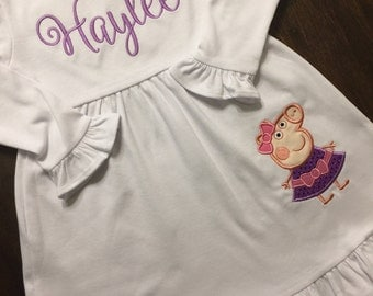 Peppa Pig Dress // Peppa Pig Birthday Dress // Girl Birthday Shirt // Monogrammed Peppa Dress // Peppa Pig 1st First 2nd Second