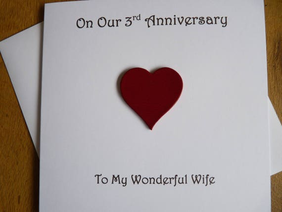 3 Year Wedding Anniversary Gifts For Her: 3rd Anniversary Card Leather Three Years 3rd Wedding