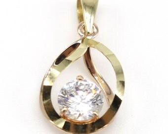14k Solid Yellow&Rose Gold Pendant 4134 Water Drop Design Cubic Pendant