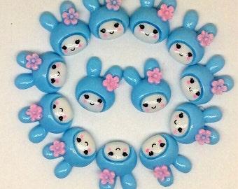 5pcs Rabbit Embellishment Blue Resin Flatback ScrapbookIng For Phone/Craft