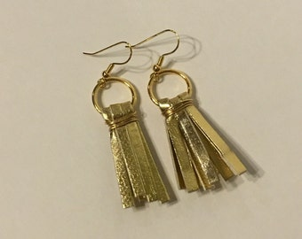 Gold faux leather tassel earrings- fierce