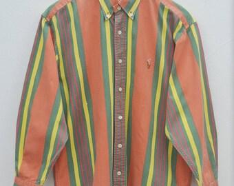 POLO RALPH LAUREN Shirt Vintage Polo Ralph Lauren Multiple Colors Stripes Button Down Shirt Size M