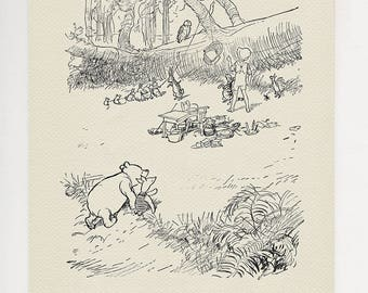 Moving to the Wolery - classic style poster print  Winnie the Pooh  copy of book illustration by E.H. Shepard - The House at Pooh Corner #21