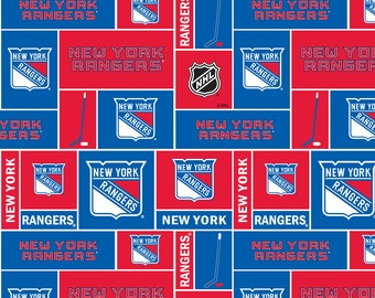 NHL New York RANGERS Patchwork Fleece fabric material by the 1/2 yard liscensed for Crafts, Quilts, clothing and Home Decor