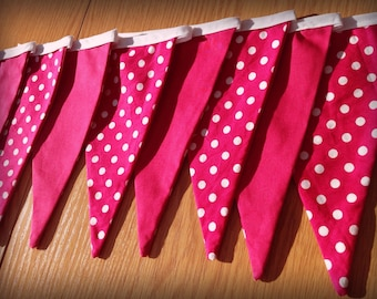 Pink and white polka dot bunting, bedroom decor, party bunting, playroom decoration, pink bunting, polka dot decoration