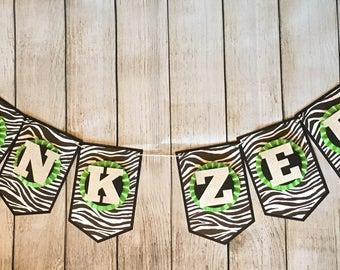 Zebra Banner, Zebra Birthday, Custom Banner
