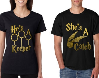 Couple T Shirt She's A Catch He's A Keeper Christmas Love Gift Valentine Day T-Shirt Size S,M,L,XL,XXL Black Tee Shirt