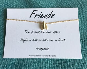 Mini Gold Plane Charm and Friendship Quote; Gold paper airplane charm, best friend quote, gift for her, long distance friendship gift, off