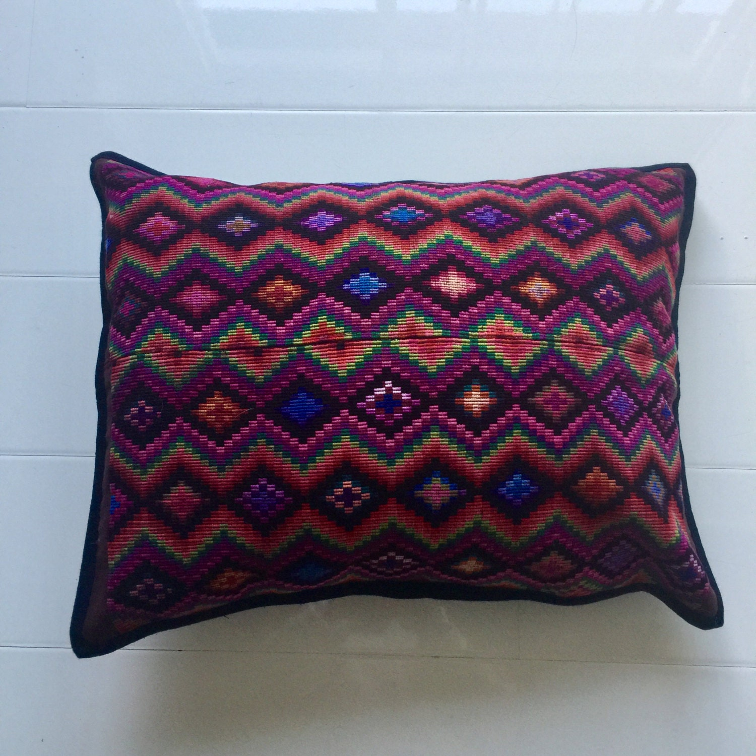Hand embroidered mexican pillow cover ethnic bedding boho Mexican embroidered bedding