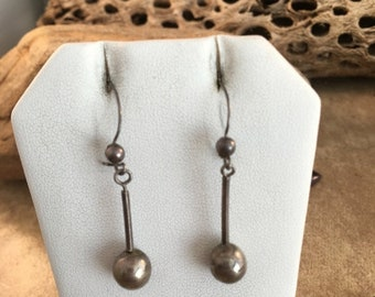 Spring Time Yet Vintage Navajo Sterling Silver Dangle Earrings