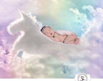 Newborn Digital Backdrop - Unicorn Rainbow Sunflare Clouds Background Composite