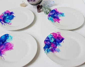 Set of 4 Hand Painted Salad Plates, Cute Mother's Day Gift