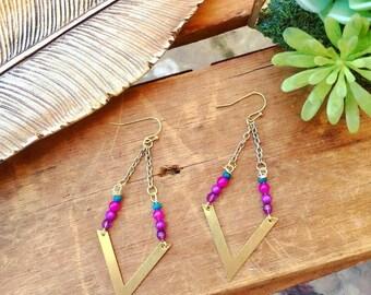 Dangle Boho beaded earrings