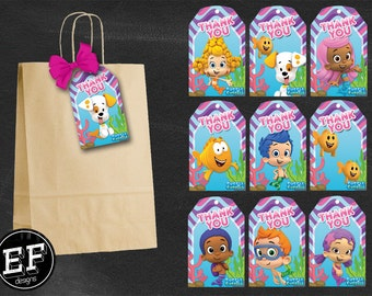 20 Bubble Guppies Tags, 20 Bubble Guppies Thank you tags instant download, 20 Printable Bubble Guppies party Thank you tags for boy and girl