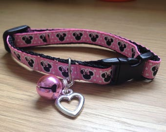 Pink Minnie Mouse style Cat/Kitten Collar (Quick Release)