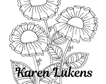 Simple Beauty, 1 Adult Coloring Book Page, Printable Instant Download, flowers