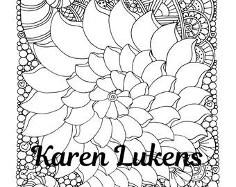 Alaura 1 Adult Coloring Book Page Printable Instant Download