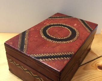 Leather Covered Wooden Box Deep Red Leather with Straw Detail Caddy Container Trinket Box