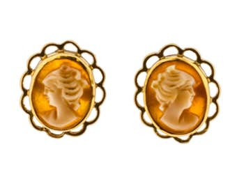 Classic Cameo Stud Earrings with 9ct Gold Bezel Setting