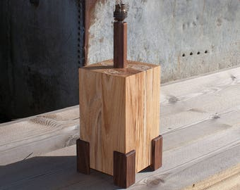 Gatepost Table Lamp - Spalted Elm & Walnut Table Lamp - Wood Lamp