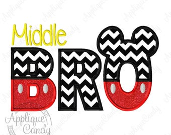 Mr Mouse Middle Bro Applique Embroidery Design 4x4 5x7 6x10 Brother INSTANT DOWNLOAD