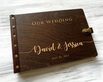 Wedding Photo Album Wood Photo Album Personalized Photo Album Custom Wedding Album Wooden Photobook Wedding Gift Ideas Gift for Couple
