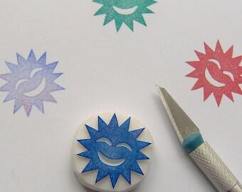 Sun rubber stamp, sun stamp, smiling sun stamp, weather rubber stamp, sunshine rubber stamp, sunshine stamp, summer stamp, summer decoration