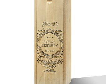 Personalised Local Brewery Wooden Wine Box