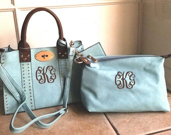Monogrammed Purse and cosmetic Grommet bag 2pc set in Mint - Personalized handbags