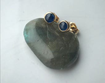 Antique Natural Sapphire and 14K Yellow Gold Earrings