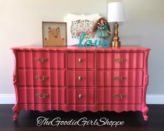 Sold ~ French Provincial Coral 9 Drawer Dresser
