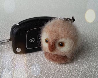 Owls, Needle felted owl, Owl key ring, Baby owls, Bag charm, key ring, zipper charm