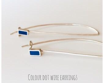 Colour Dot Long Sterling Silver Wire Drop Earrings Rectangles | Minimalist Earrings | Contemporary Jewellery