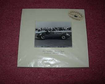 rare jarrotts mounted photo of mike hawthorn thin wall special with c o a