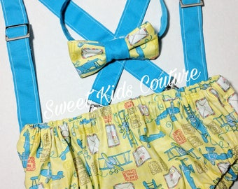 First birthday party outfit, smash cake suspenders, bowtie, diaper cover birthday outfit airplane theme.