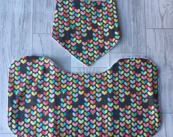 Ladybird and Heart grey Dribble Bib and Shoulder Burp / Feeding Cloth in Michael Millar 100% Cotton Fabric