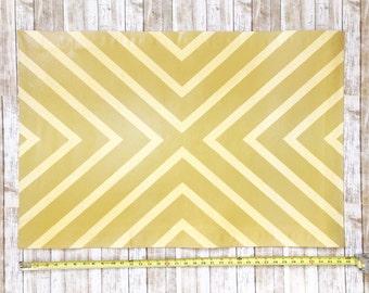 Beige Reflective Stripe Pattern Floor Cloth, Painted Canvas Rug, Floorcloth