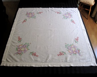 """Vintage Cream Linen Embroidered Tablecloth, Natural Linen, Hand Embroidered Fruit Theme Design – 46"""" x 49"""" (cv1507)"""