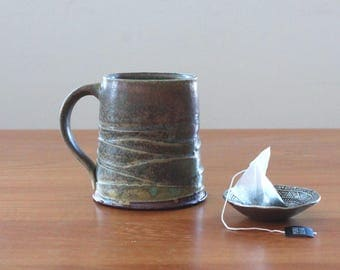 Wavy Mug // Rustic Ceramic Mug // Handmade Coffee Mug //  Tea Mug // Brown Pottery Mug // Housewarming Gift // Handmade Gift