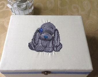 Machine embroidered wooden Keepsake trinket memory christening Box gift