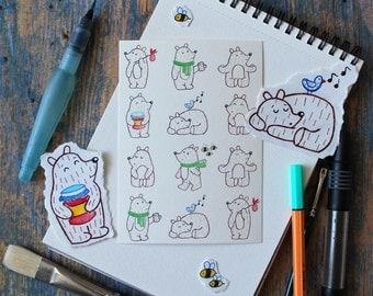 Bear postcard, card, illustration, print, gift, cute teddy-bear pattern