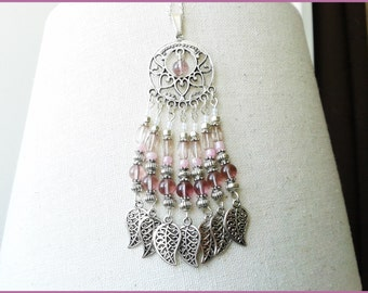 Oriental necklace large pendant beads glass and pendants
