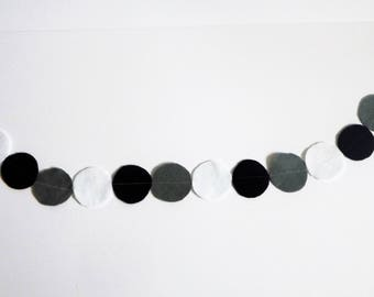 Black & Grey Felt Circle Garland
