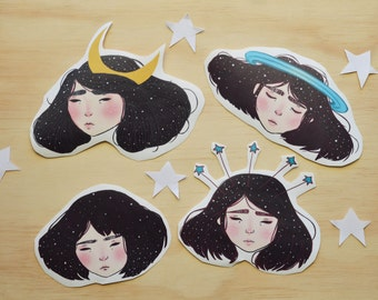 Stars girls stickers (set of 4)