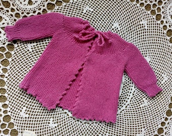 Baby Girl jacket in lovely rose coloured wool