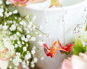 Sunset orange, Origami Crane Earrings, Sterling Silver, Yuzen Chiyogami, Japanese art, Origami Jewelry, Jewellery
