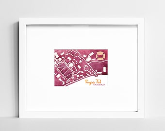Virginia Tech Hokies Campus Map | VT College Art Print | Blacksburg VA