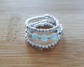 Collection Trilogy // Silver 925  and Amazonite Elastic Ring
