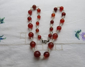 Vintage carnelian and crystal necklace